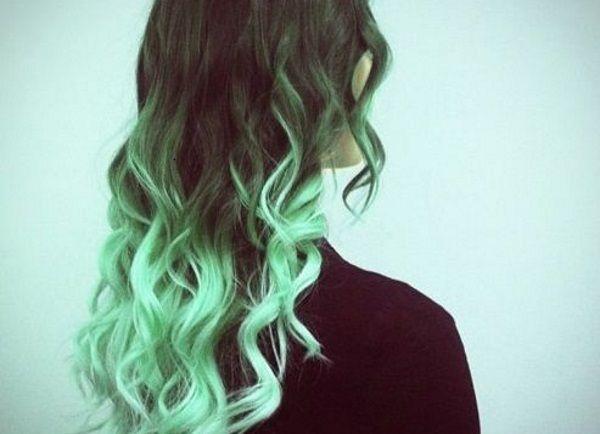 Green Hair Color Ideas That Just Might Work Hair Styles Dip Dye Hair Brown Blonde Hair