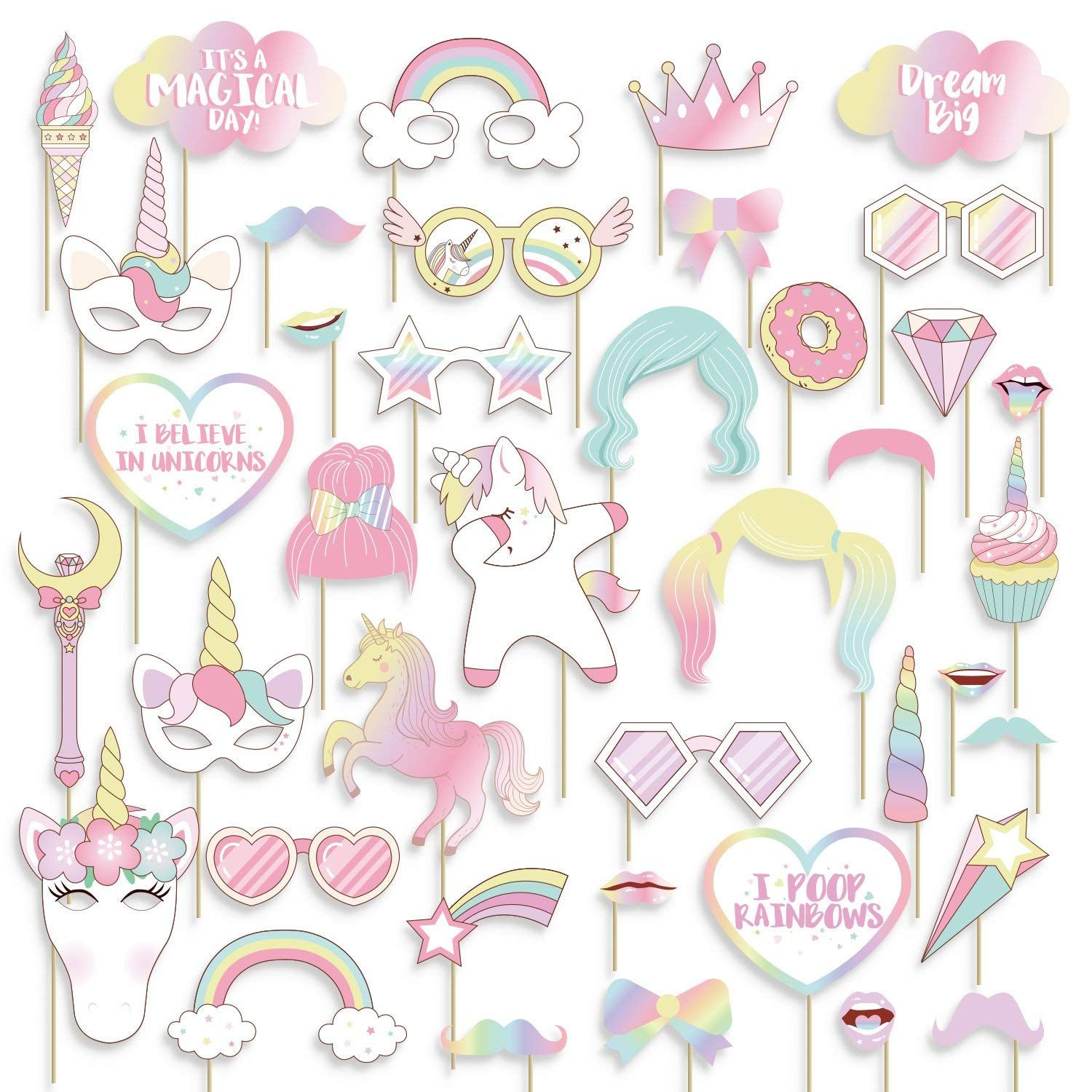 Amazon Is Offering Geefuun 40PCS Unicorn Photo Booth Props Rainbow Birthday Party Supplies Decorations On Sale For Just 49 When You Use Code 50N9EESL At