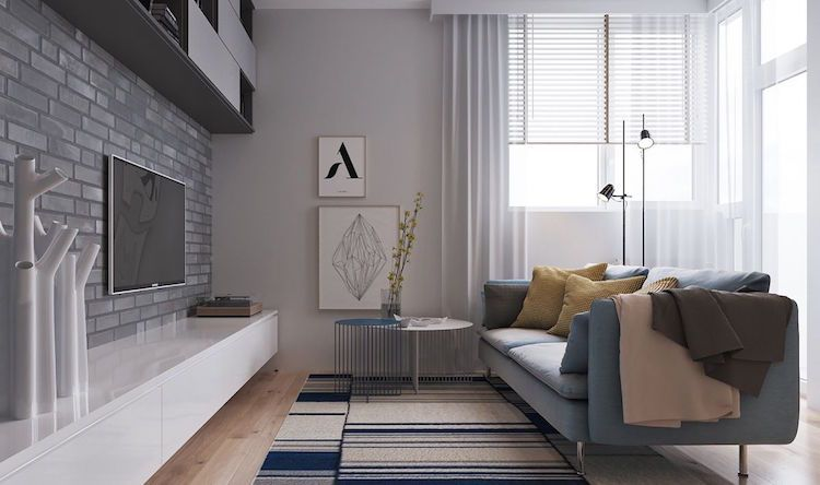 Gedeckte Farben Moderne Einrichtung Wohnzimmer Grau #interiordesign  #apartment
