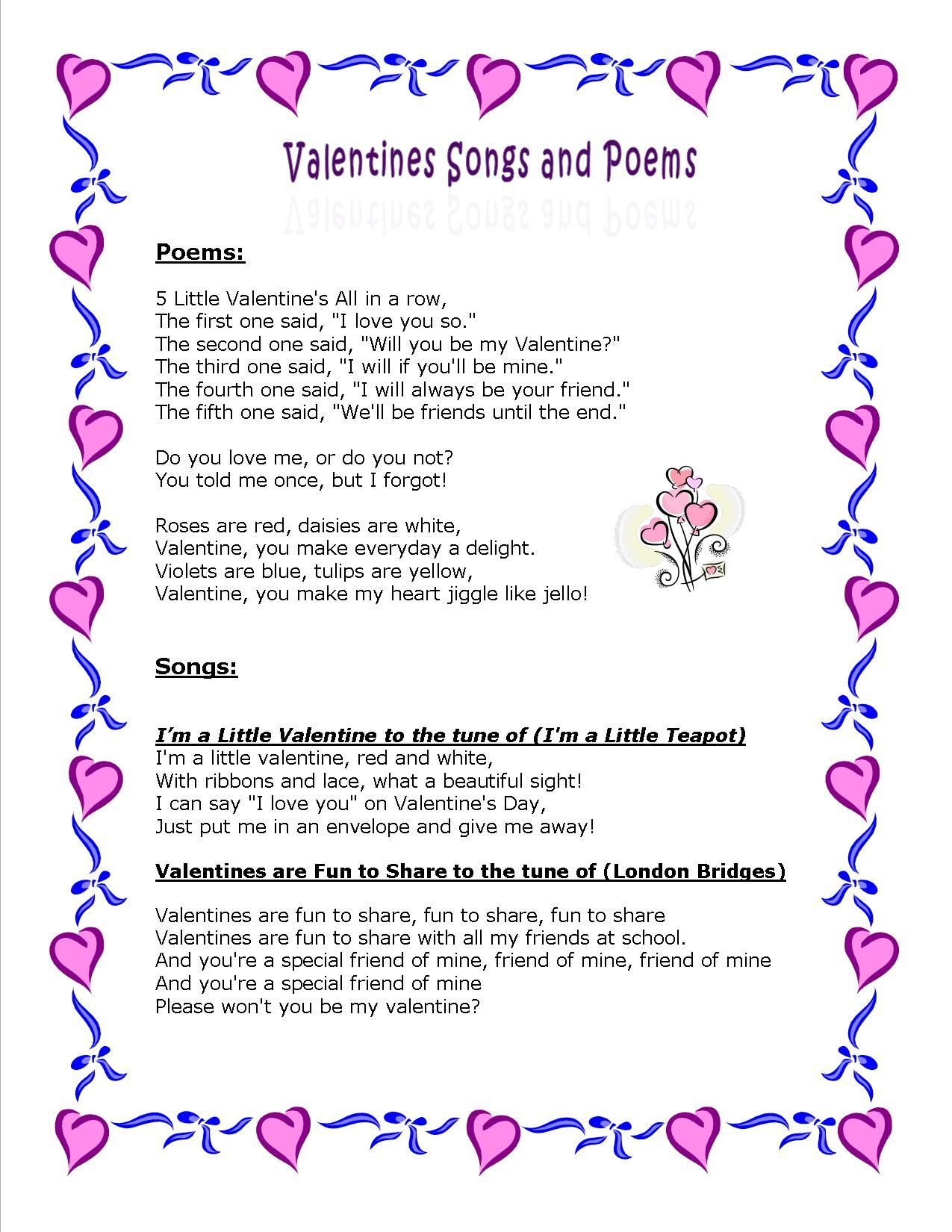 Valentine Poems And Songs Feb Valentines Dental Health Presidents