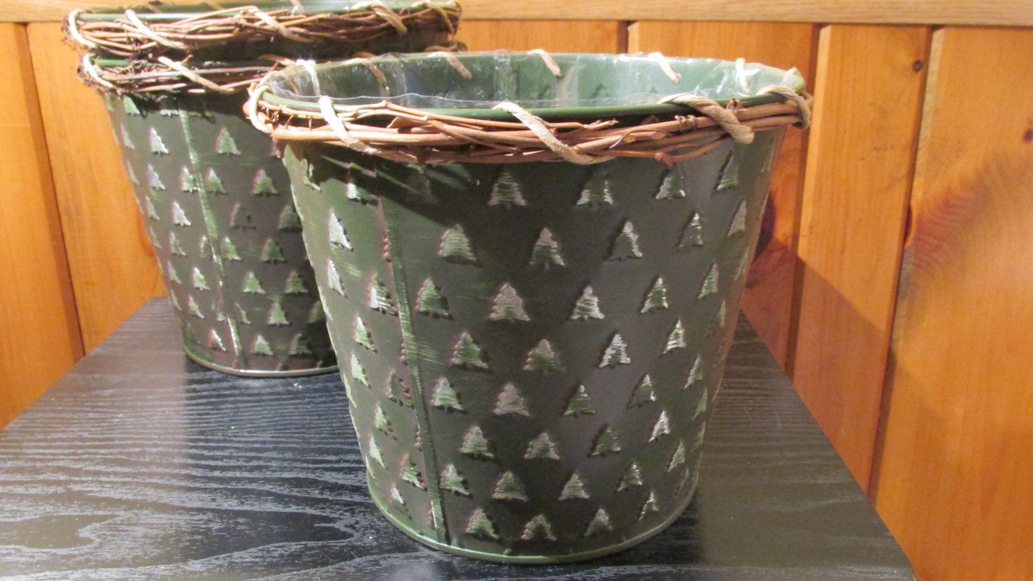 Tin Bucket Pail Planter with Christmas Tree Design by ChiChiBazaar on Etsy