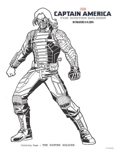 The Winter Soldier Captain America Coloring Page | Marvel coloring ...
