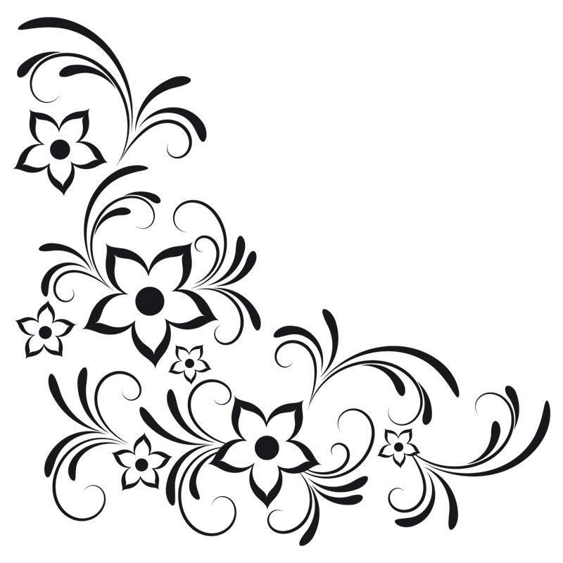Wandtattoo Blumeranke Mit Bluten Ralcom Design Online Shop Fur Flower Drawing Hand Embroidery Designs Page Borders Design