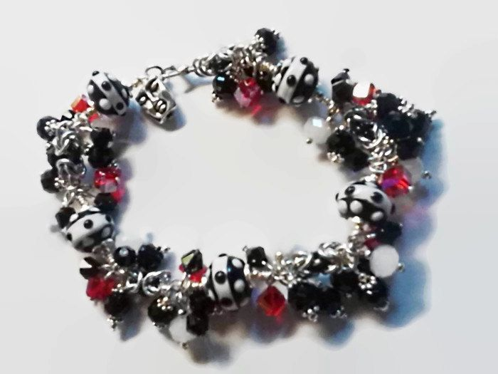 Lampwork Glass & Crystals Chainmail Charm Bracelet – One of a Kind – Handmade in the USA!
