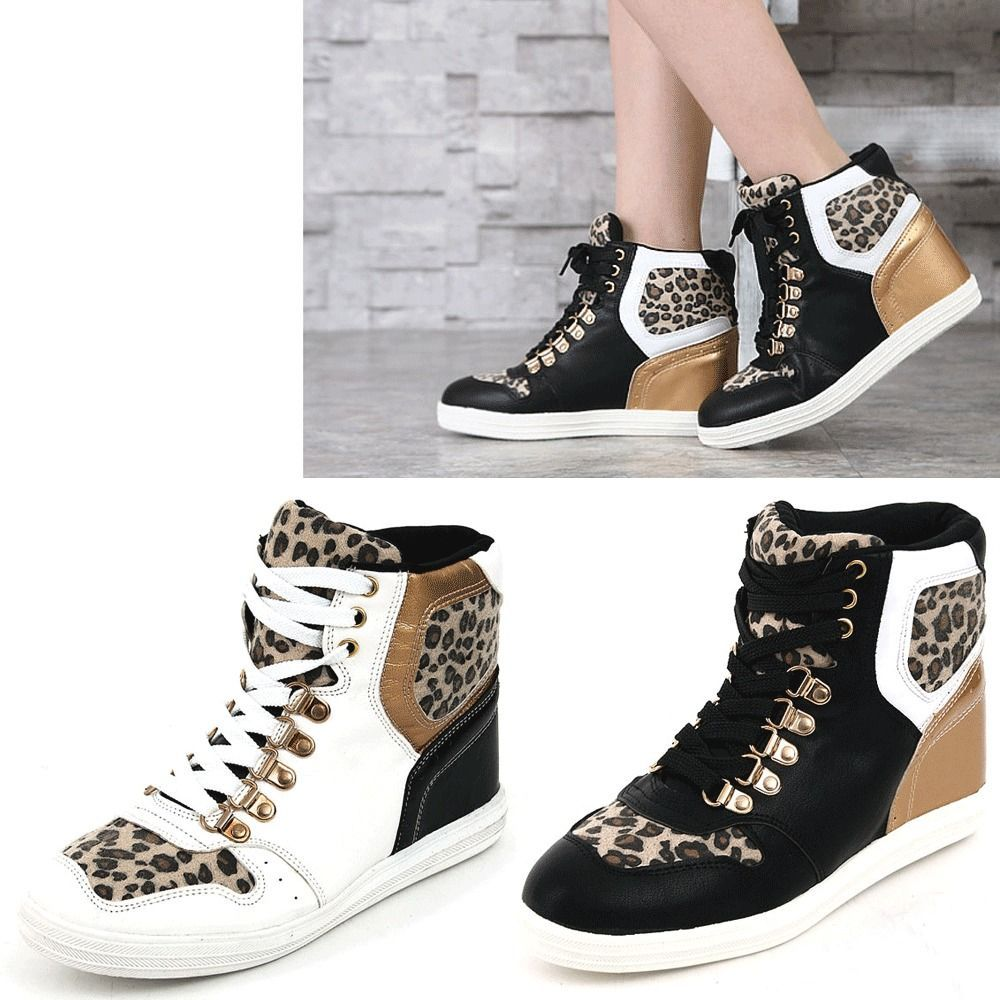 0c76be9ab50 Epicsnob Womens Shoes High Top Wedges Heels Lace Up Leopard Fashion Sneakers