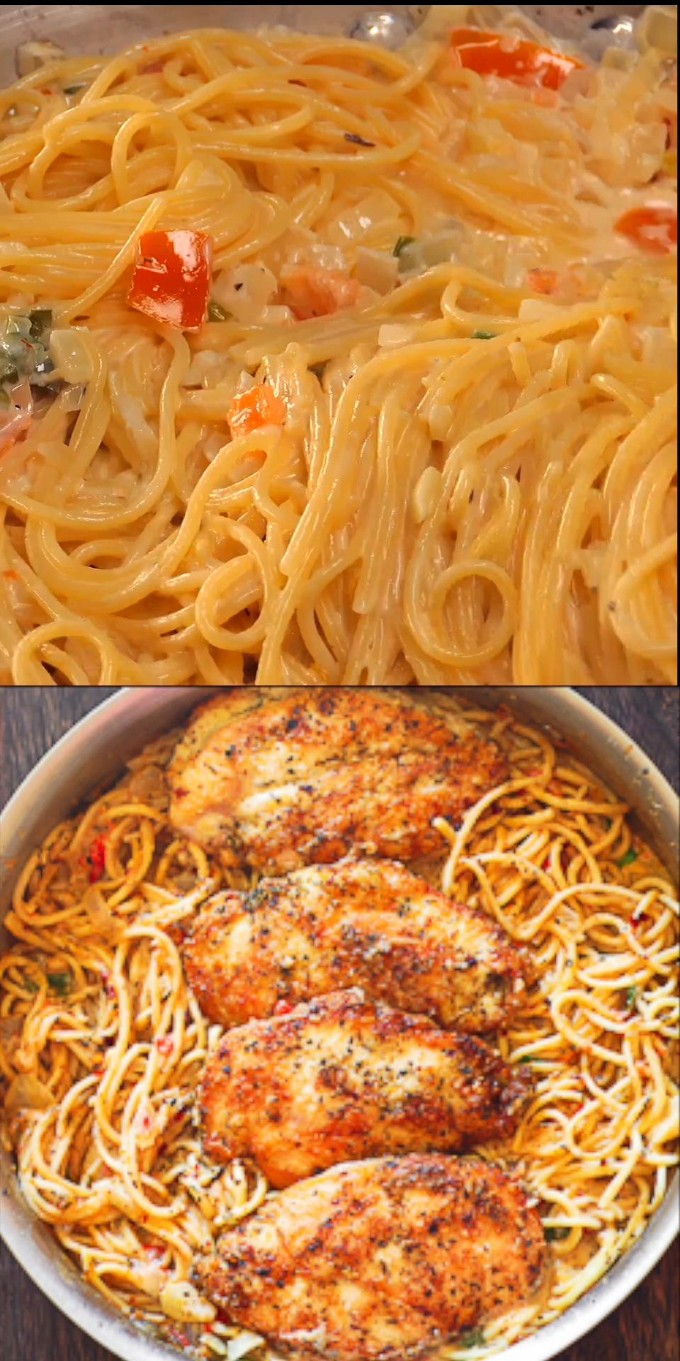 Chicken Pasta in Creamy Parmesan White Wine Sauce