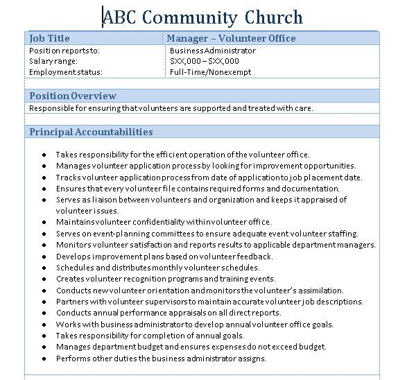 Sample Church Employee Job Description | Job Description