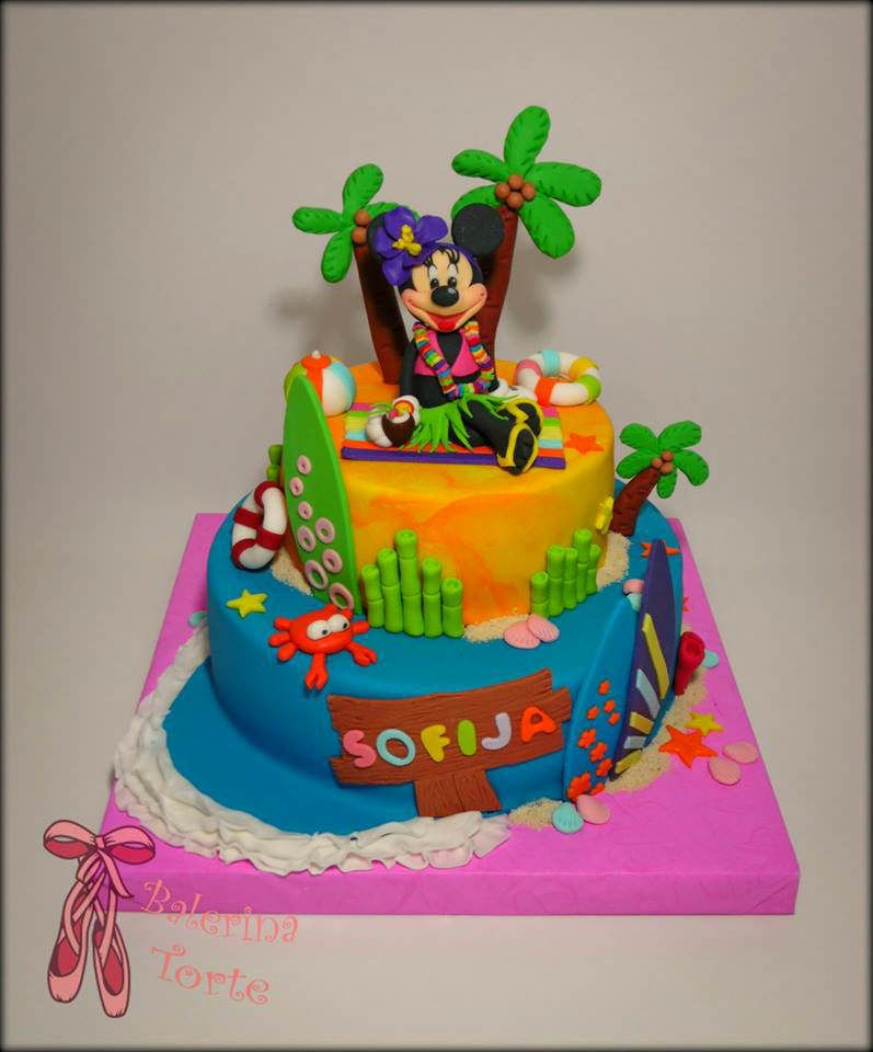 Minnie Mouse on the Beach Cake – Mini Maus torta – Mini Maus na plazi by Balerina Torte Jagodina
