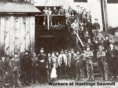 employees at the Hastings saw mill