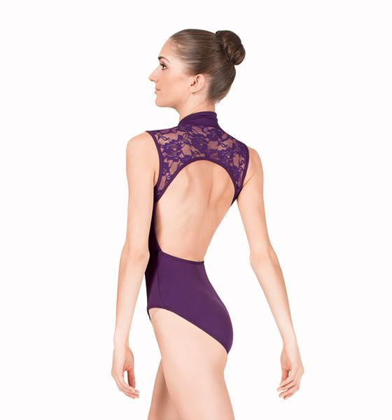 f8ba0bfaf1ff Womens Zip Front Compression Tank Leotard with Lace Back in 2018 ...