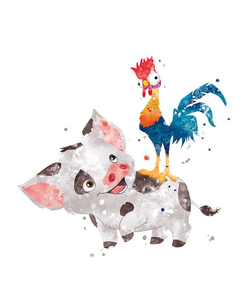 Pua and Hei Hei Princess Moana Hei Hei and Pua Moana Disney Wall Art Poster Artwork Printable Watercolor Moana Print Gift