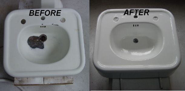 Sink Repair Before After Sink Repair Porcelain Sink Repair