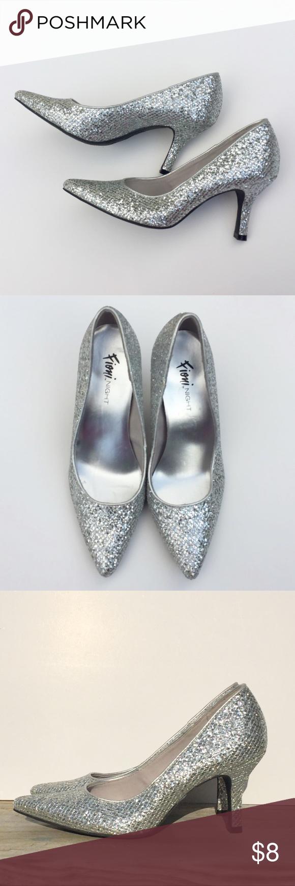 Fioni Night Silver Glitter Pumps. Size