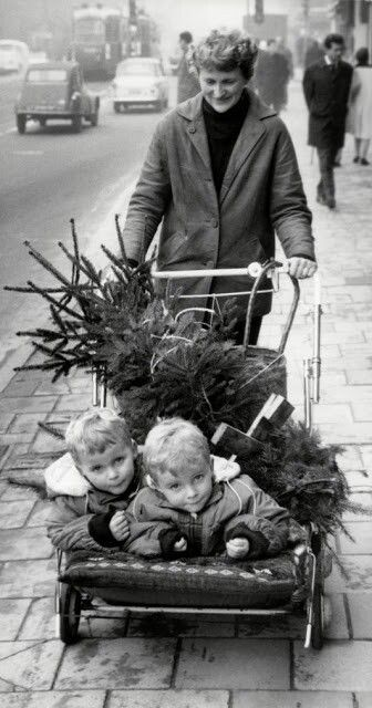 a couple of kids and a christmas tree, 1964 old fashion christmas
