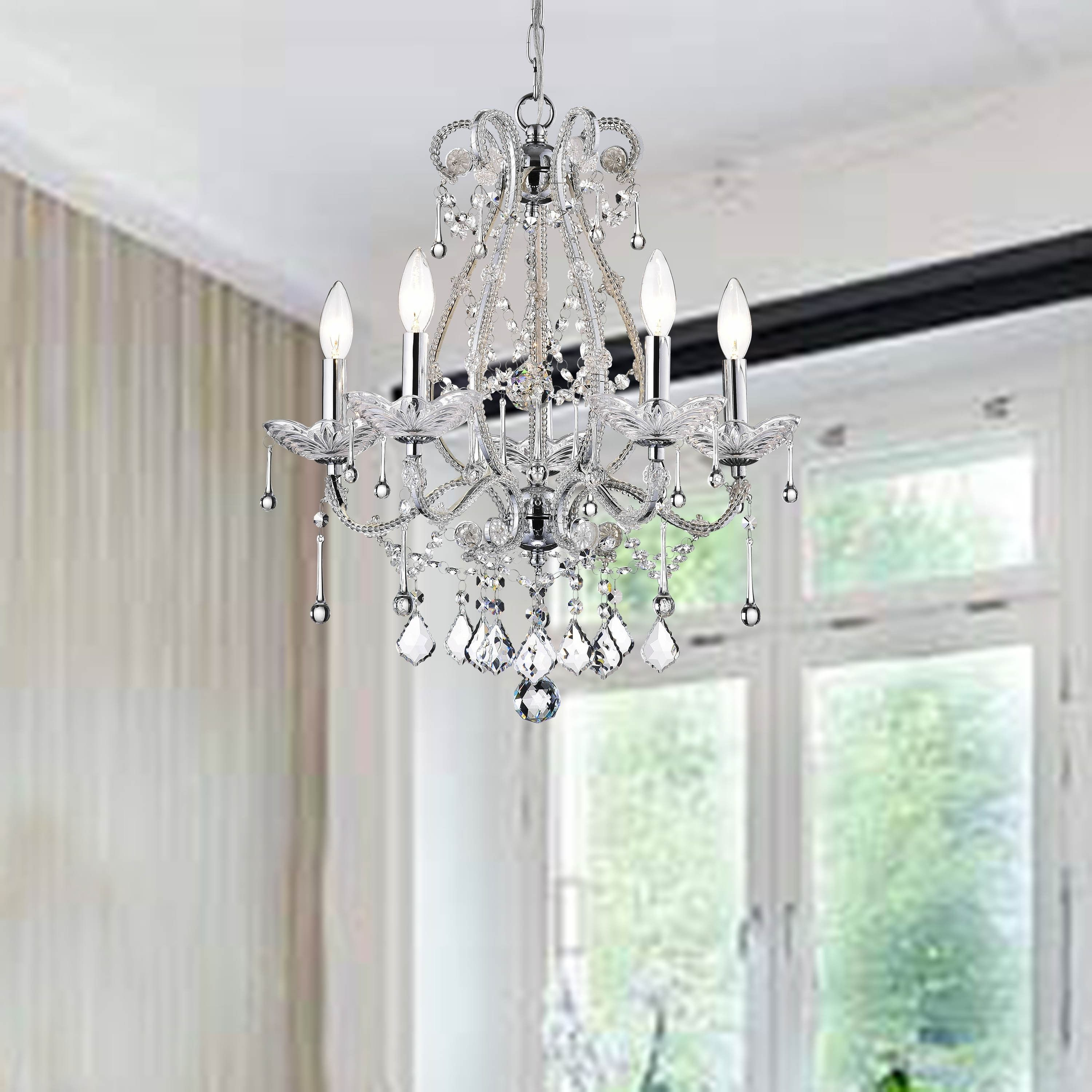 Crystal and iron five light chandelier black chrome shabby crystal and iron five light chandelier aloadofball Image collections