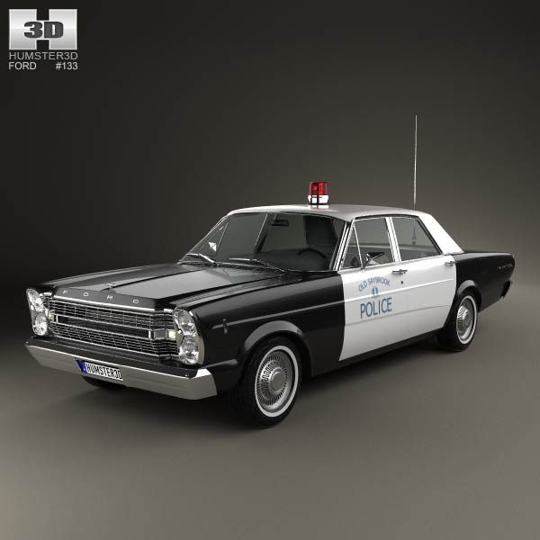 Ford Galaxie 500 Police 1966 3d model from humster3d.com. Price: $75