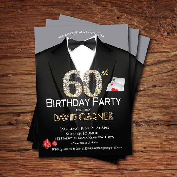 Casino 60th birthday invitation. Adult man birthday party invitation. Poker game card. Suit, black t