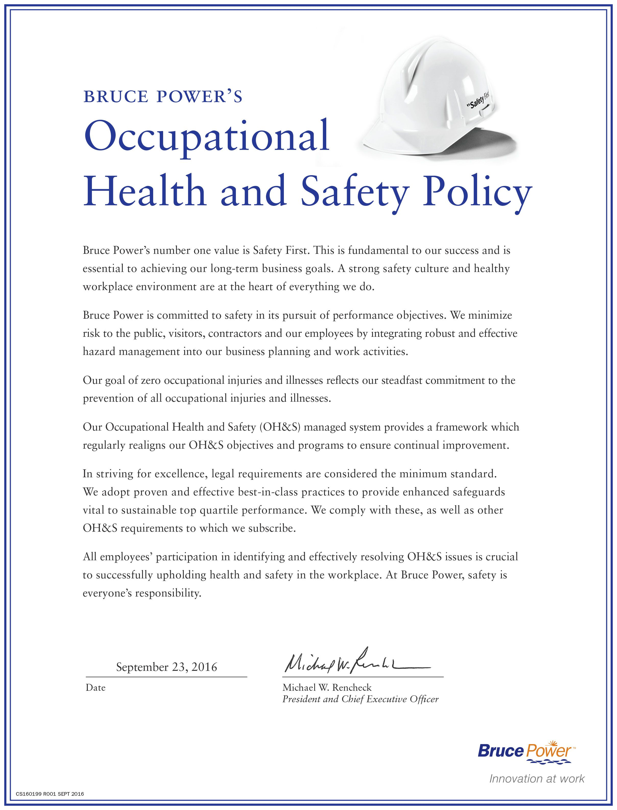 Occupational Health And Safety Policy  Health