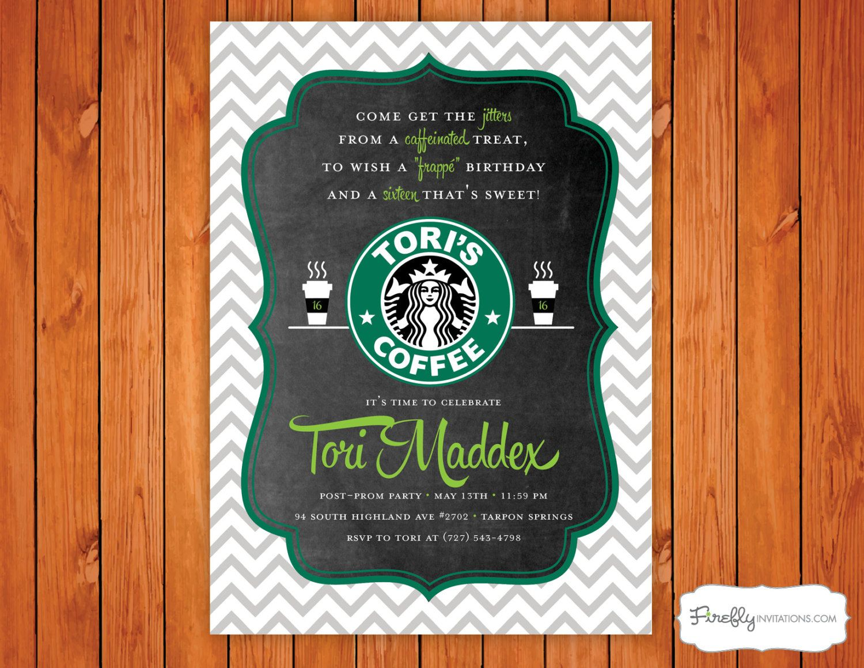 Starbucks Coffee Birthday Party Invitation Starbucks
