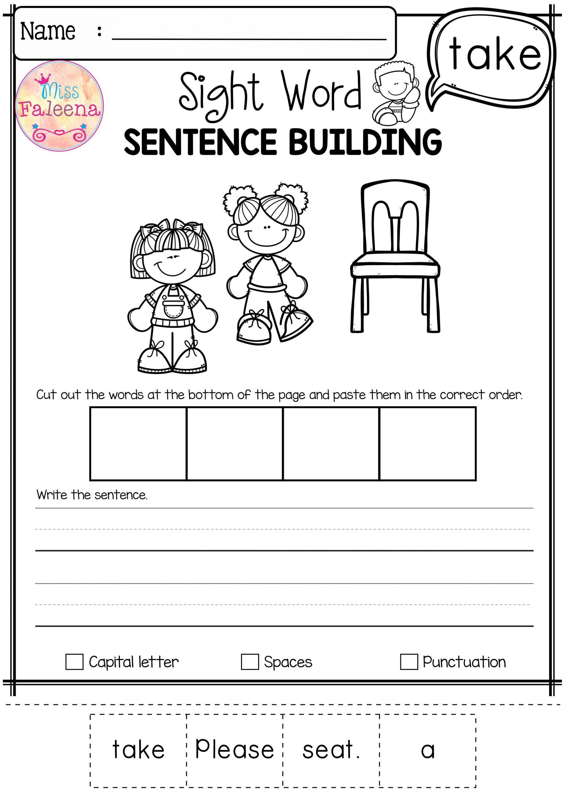 Sentence Building Worksheets For Kindergarten In