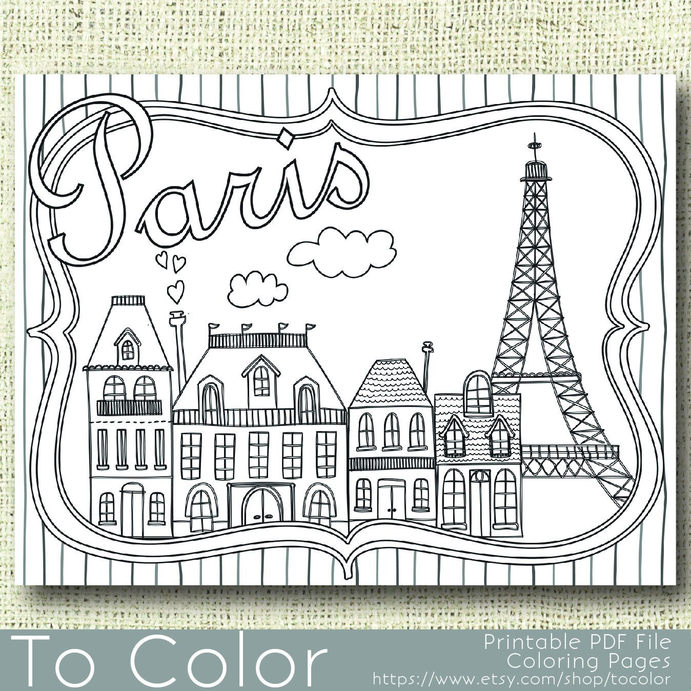 Printable Paris Coloring Page For Adults PDF JPG
