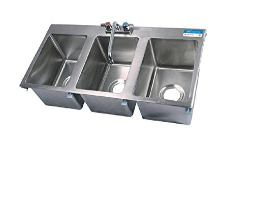 Three Compartment Drop In Sink W Faucet Click Image To Review
