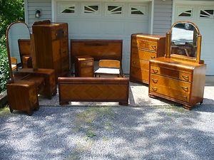 1930 S Art Deco Waterfall 8 Piece Bedroom Set Bed Vanity Cedar Chest Dresser