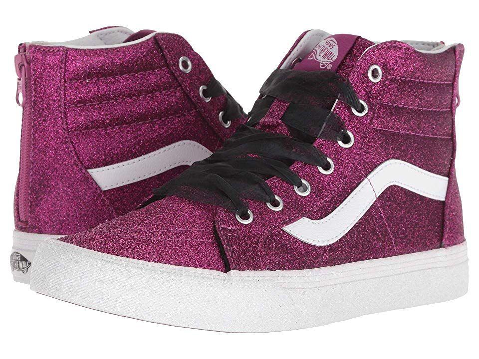 aac68fba3491 Vans Kids Sk8-Hi Zip (Little Kid/Big Kid) Girls Shoes (Glitter) Wild Aster/True  White