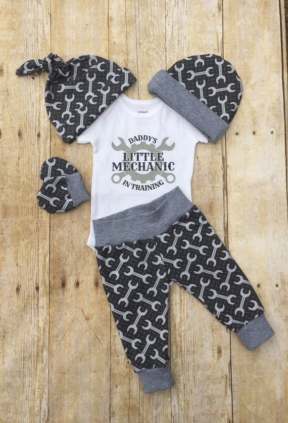 Photo of Daddy's Little Mechanic Infant Outfit, Coming Home Baby Boy Outfit, Take Home Newborn Outfit, Baby Boy Layette and Hat Set, Tool Handyman