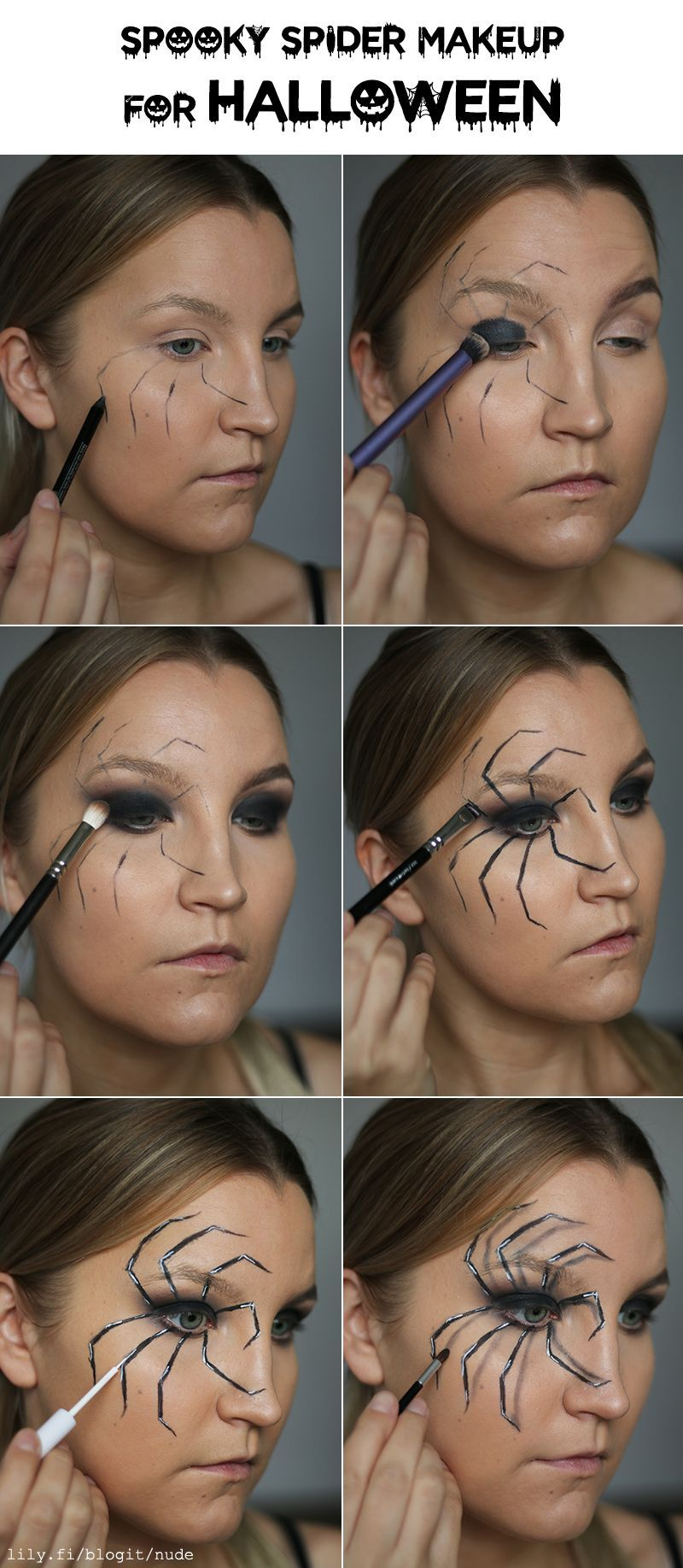 Easy spider makeup for Halloween. All you need is black and white eyeliner, black eyeshadow and a mascara. #fallmakeuplooks