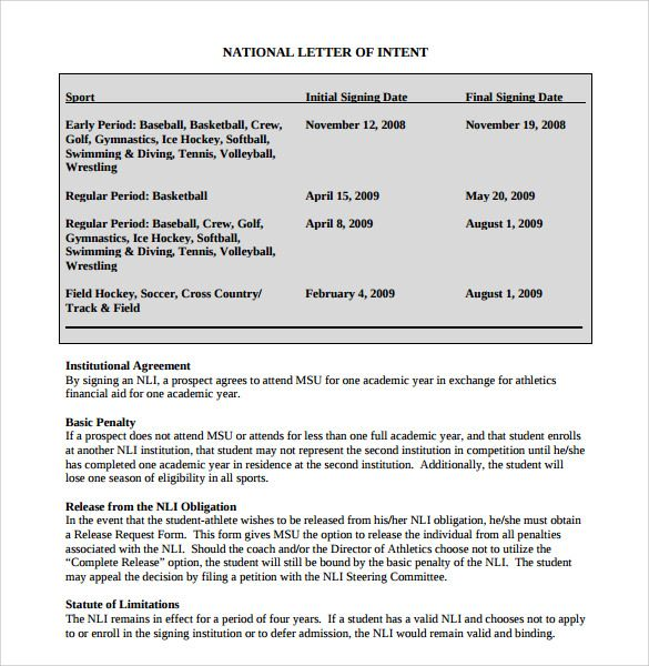 National Letter Of IntentNational Letter Of Intent Rules Template