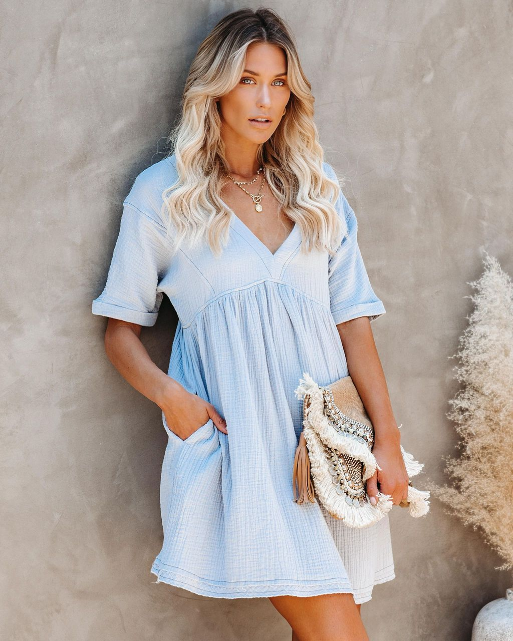Violetta Cotton Pocketed Babydoll Dress Light Blue Vici Babydoll Dress Maternity Dresses Dresses [ 1280 x 1024 Pixel ]