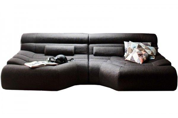 Xxl Sofa Big Sofa Wohnlandschaft Stoff Grau Mit Kissen - Tara