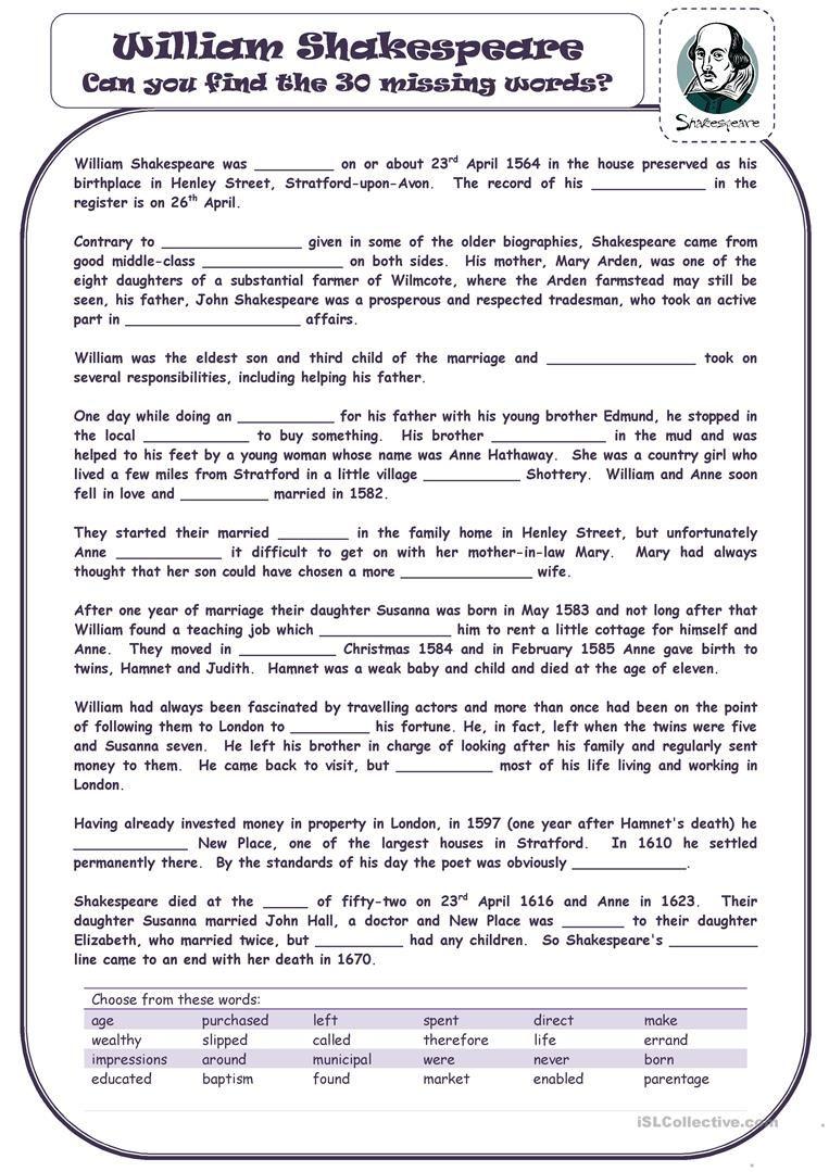 William Shakespeare Worksheet Free Esl Printable Worksheets Made By Teachers William Shakespeare For Kids William Shakespeare Shakespeare [ 1079 x 763 Pixel ]