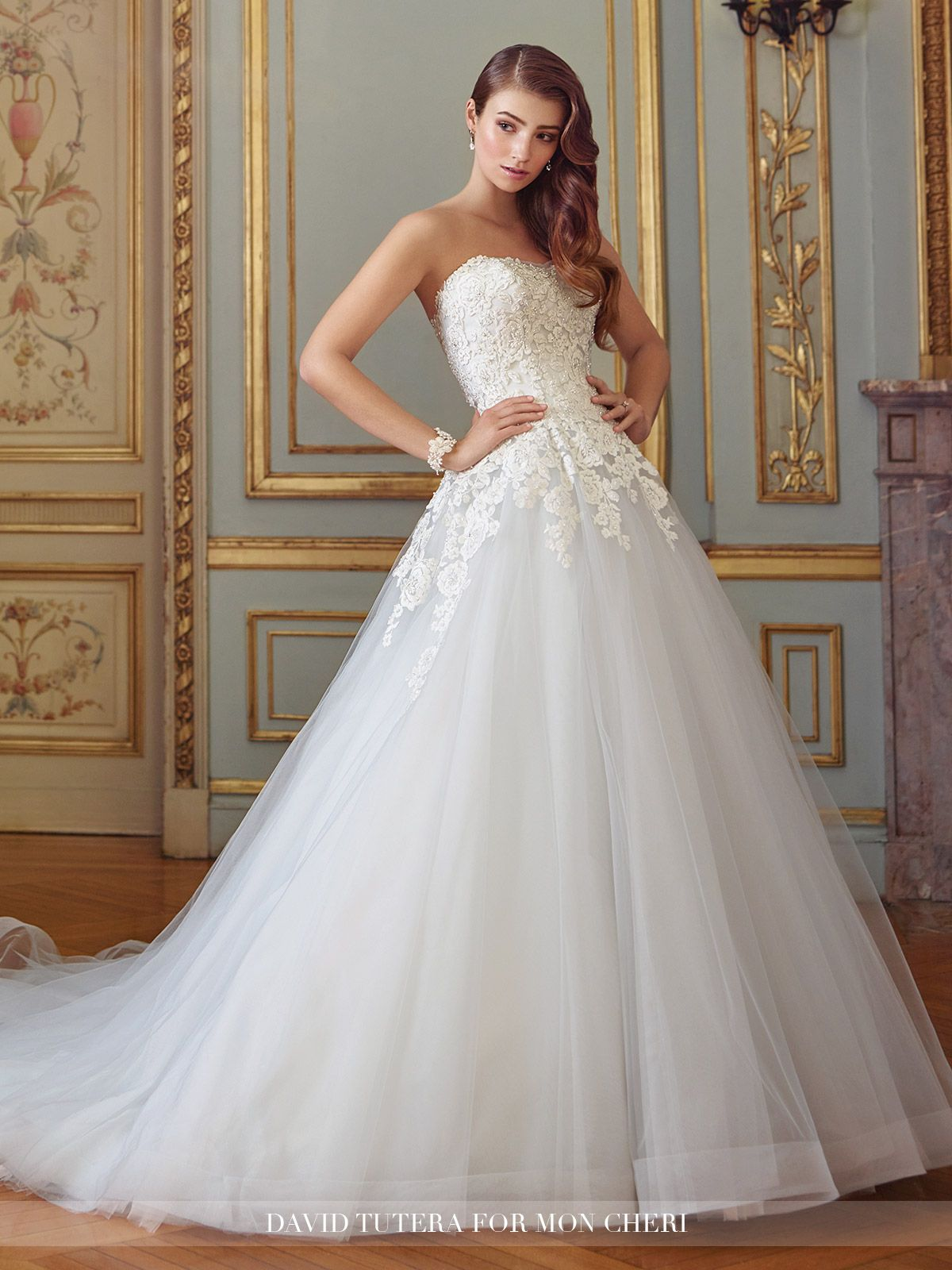 Dropped waist wedding dress  Strapless Chiffi Lace Ball Gown Wedding Dress  Sonia  Lace