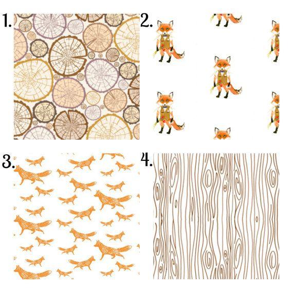 Woodland Fox Bedding Set, 3 Piece Set, Crib Sheet, Crib Skirt, Bumper, Rustic Hunting Boy Nursery