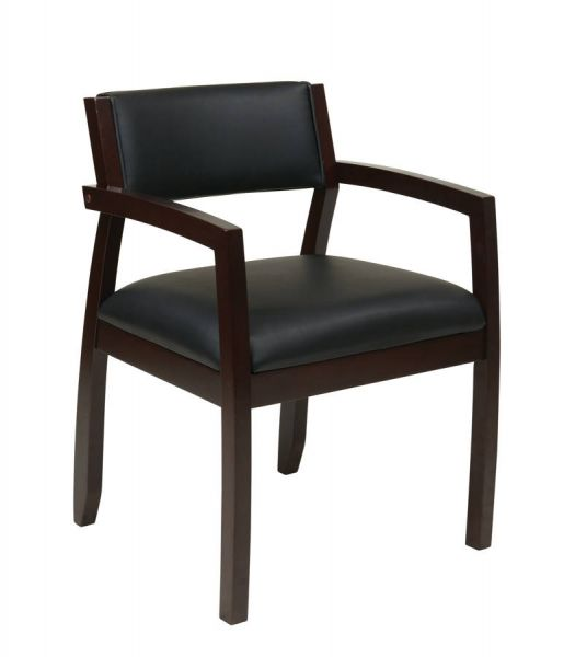 Napa Contemporary Black Espresso Upholstered Seat Guest Chair OSP