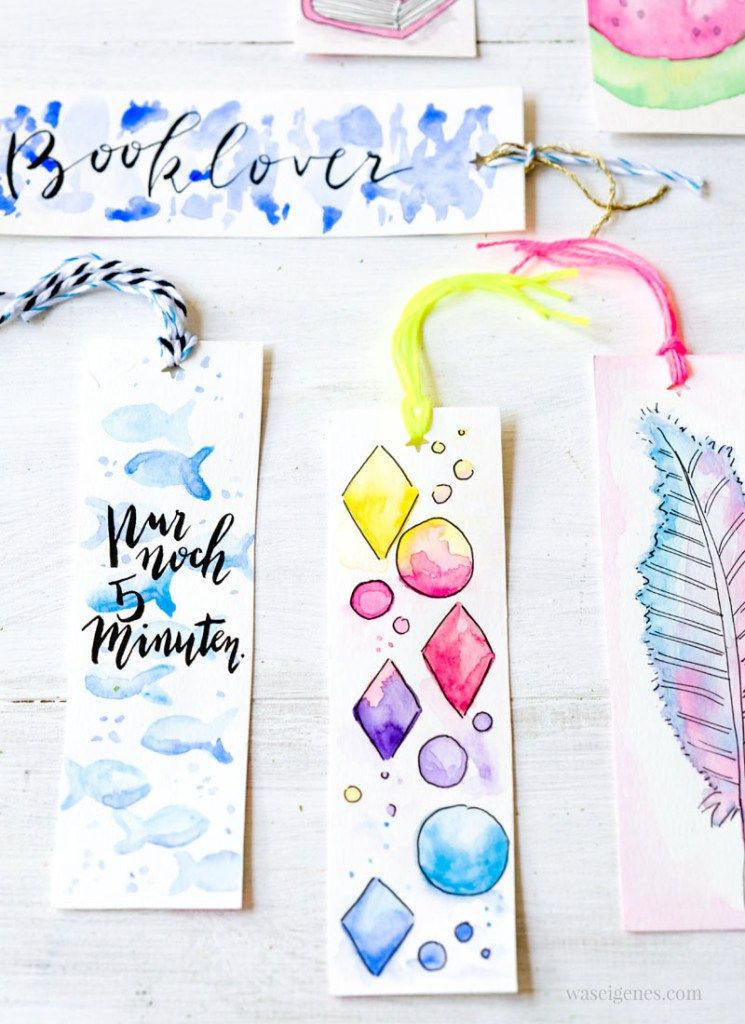 Diy Aquarell Lesezeichen Watercolor Bookmarks Creative