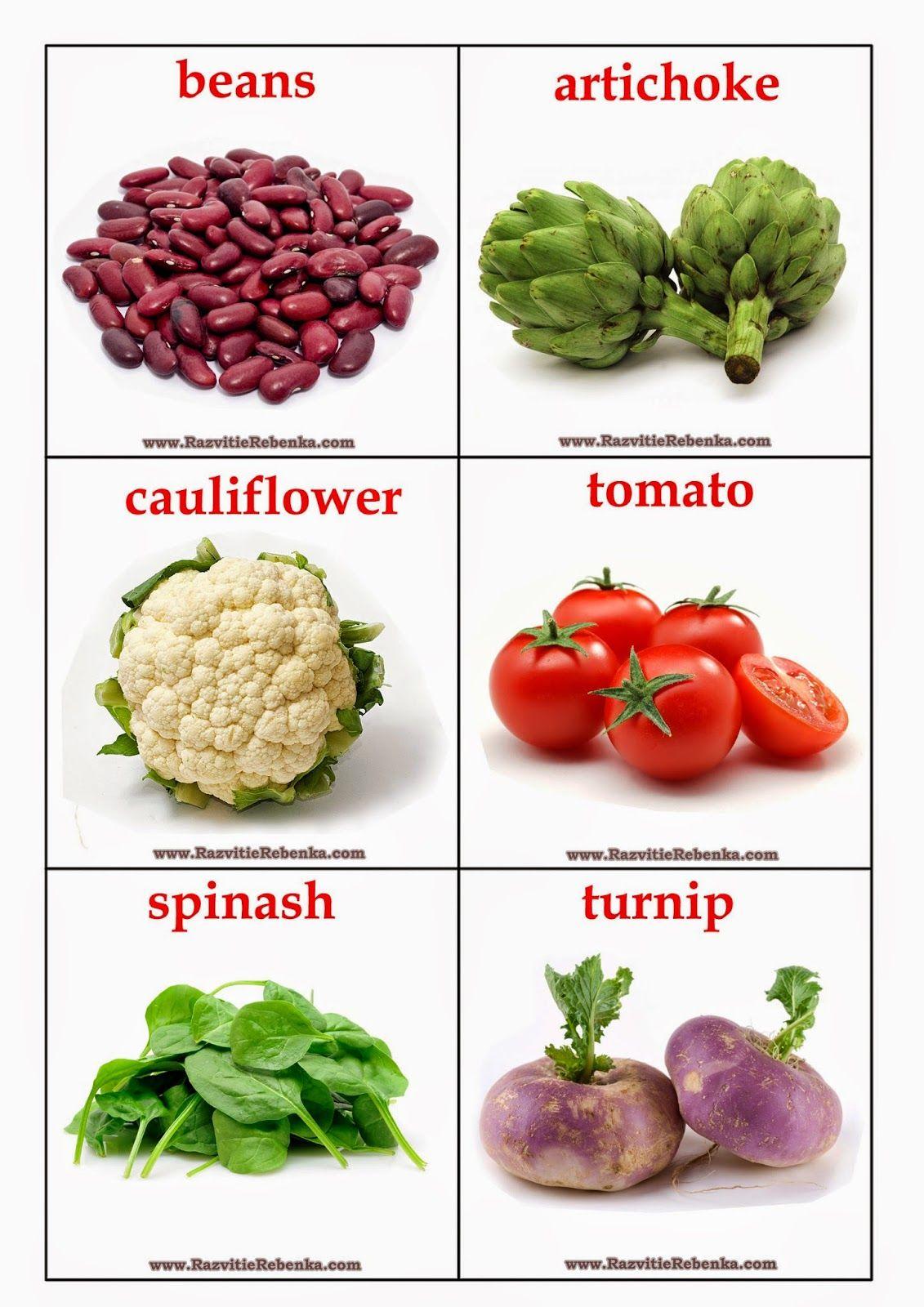 РАЗВИТИЕ РЕБЕНКА: Карточки Овощи на английском языке ...