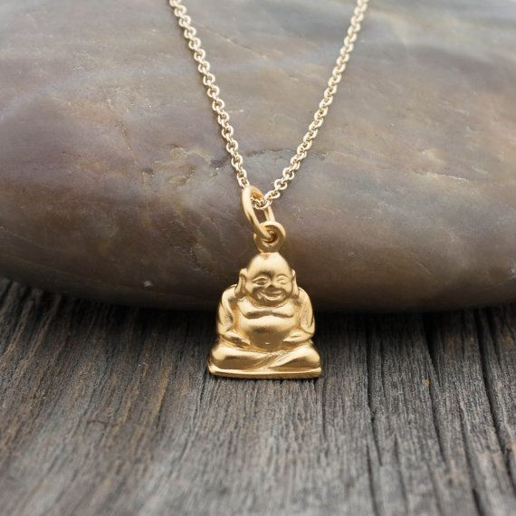Gold happy buddha necklace 24k gold dipped laughing buddha gold happy buddha necklace 24k gold dipped laughing buddha pendant yoga jewelry outdoor aloadofball Image collections