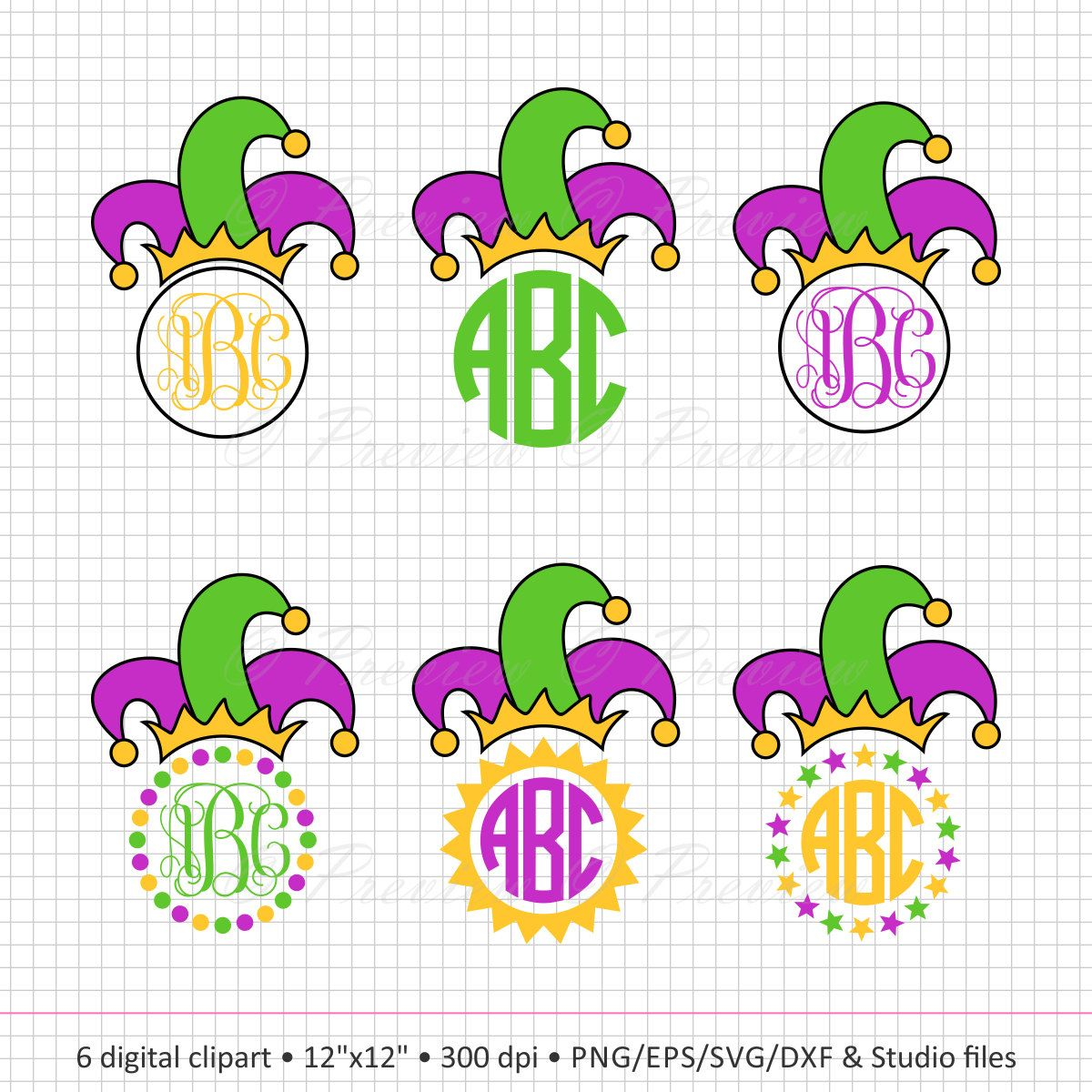 Buy 2 Get 1 Free! Digital Clipart Jester Crown Frames Monogram ...