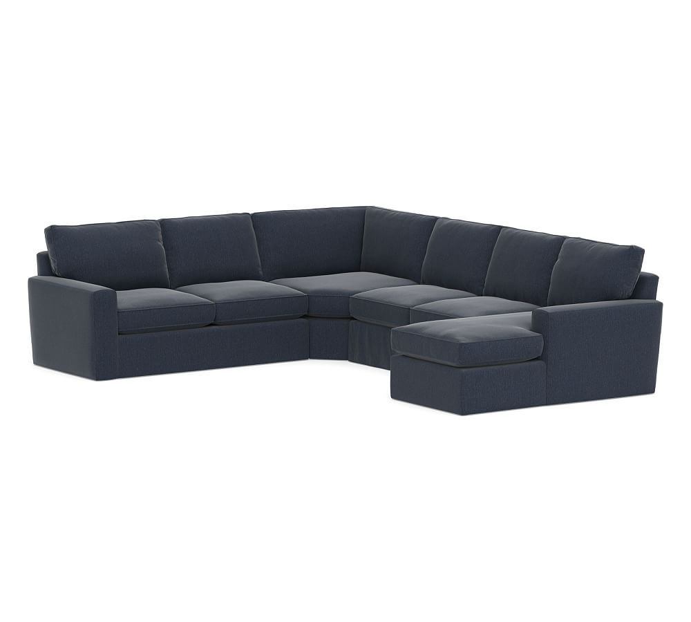 Pearce Square Arm Slipcovered 4 Piece Chaise Sectional With Wedge Deep Seat Cushions Slipcovers Love Seat