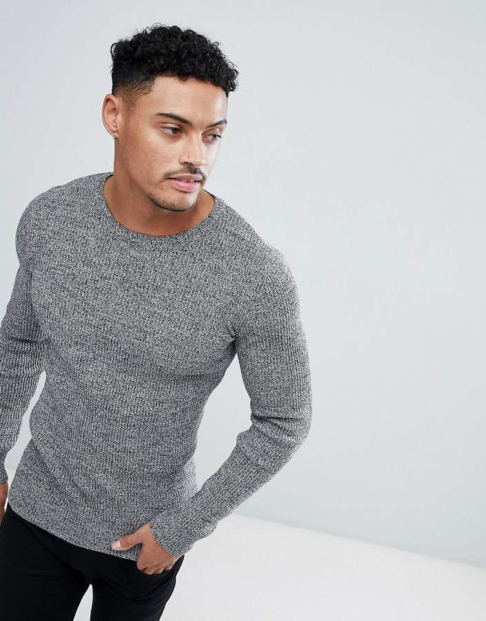 89b83158c9d53a DESIGN muscle fit ribbed sweater in black & white twist | Green ...