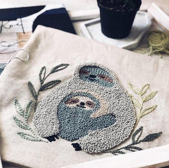pillow case Mother and child embroidery