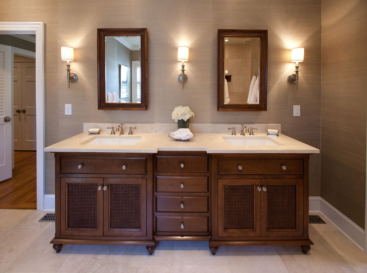 british colonial master bathroom, double vanity, grasscloth
