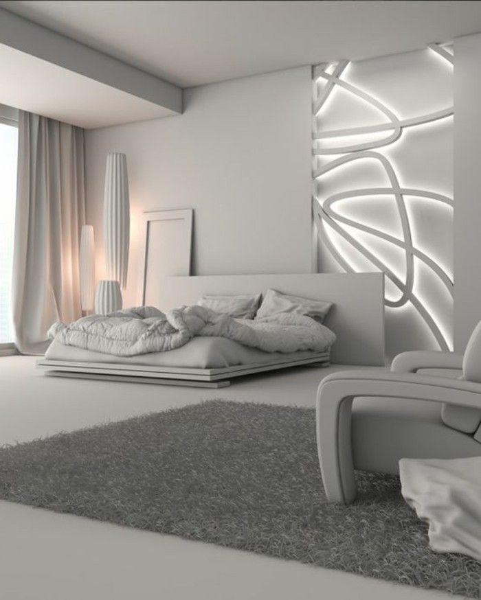 Schlafzimmer Dekorieren Minimalistischer Stil Wand Mit Beleuchtung Bett
