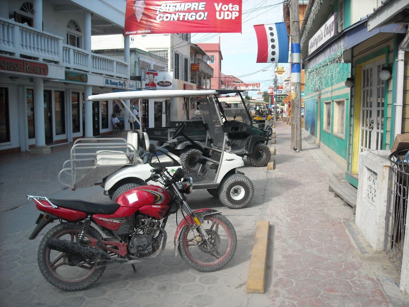 Motorcycling on San Pedro, Belize.