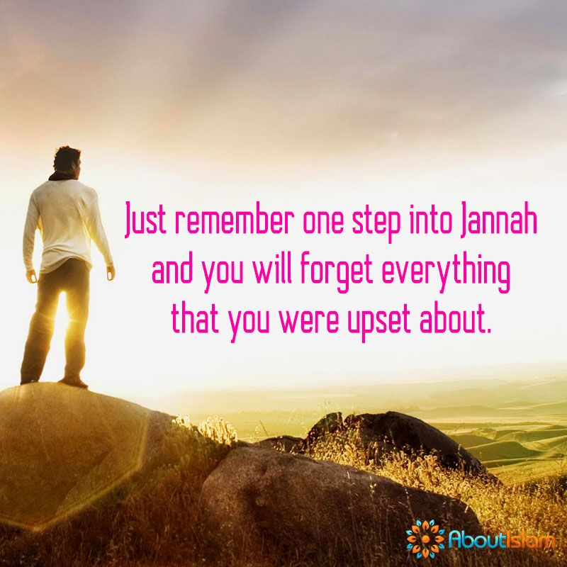 One step in Jannah and you will forget that which upset you ...
