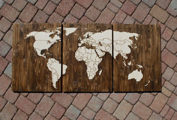 Wood stain world map with wood burn outlines of countries with map wood stain world map with wood burn outlines of countries with map tacks to pin travels gumiabroncs Image collections
