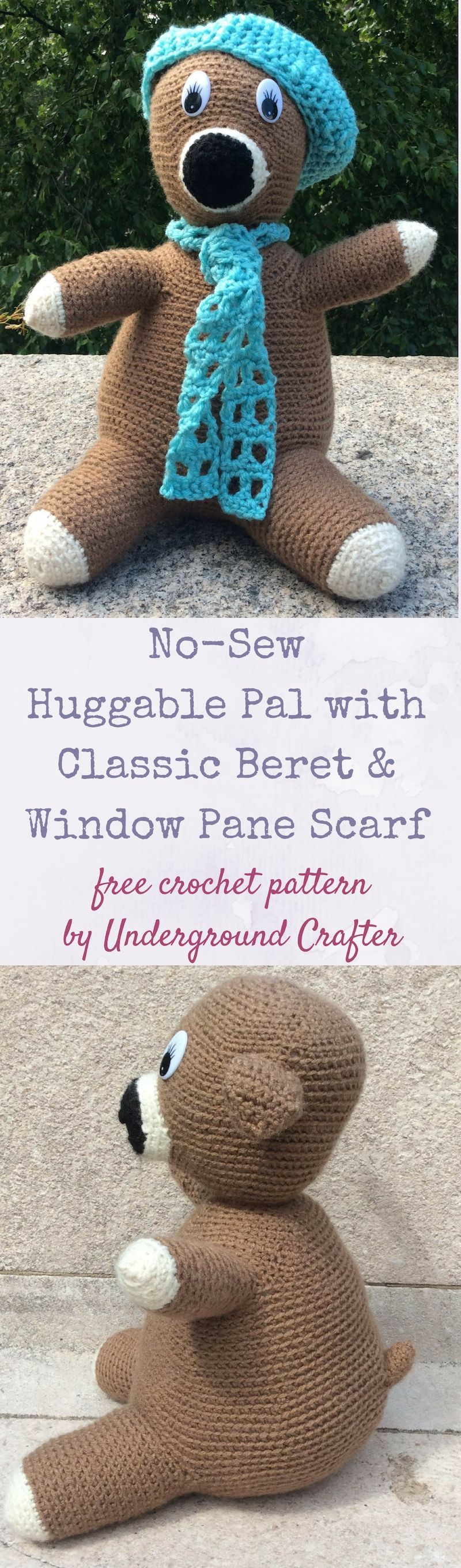 No-Sew Huggable Pal with Classic Beret and Window Pane Scarf, free ...